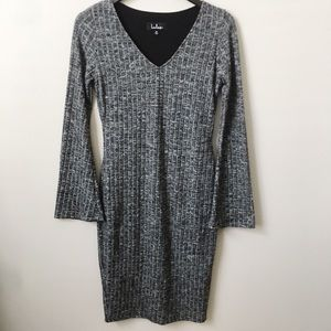 Lulu's Marled Knit Gray Sweater Dress